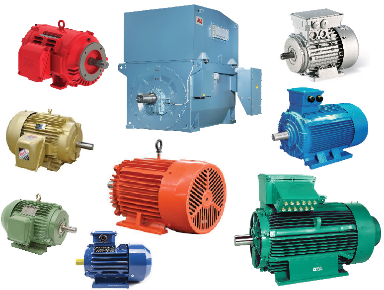 collage of electric motors in various colors